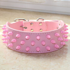 Pet Collar Pink Spiked Studded Leather Dog Collars Pitbull Terrier Cathro Husky