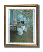 French Cafe Terrace Ocean Lake Landscape Wall Picture Gold Framed Art Print