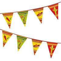 MEXICAN FIESTA PENNANT FLAG BANNER PARTY HANGING DECORATIONS PLASTIC BUNTING