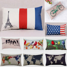 World Map Flag Linen Throw Pillow Case Decorative Cushion Pillow Cover Novelty