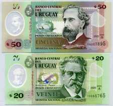 Uruguay Set 2 UNC 20 50 Pesos 2020 P new Polymer