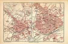 Antique map landkaart Krefeld karte Germany 1905