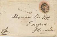"2427 1850 QV 1d pink fine postal stationery envelope numeral cancel ""18""  LONDON"