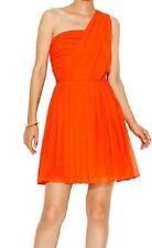 RACHEL ROY Dress Sz 8 Chili Orange Pleated Chiffon One Shoulder Cocktail dress