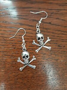 Pirate Skull And Crossbones Dangle Earrings Handmade By Me Silver Plated Posts