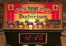 Vintage Budweiser Beer Gold Clydesdales Lamp & Digital Bar Clock Register Topper