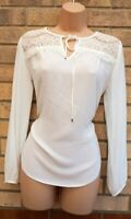 DOROTHY PERKINS WHITE TIE NECK LACE CROCHET LONG SLEEVE BAGGY TOP BLOUSE 8 S
