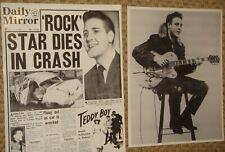 EDDIE COCHRAN 10x8 B&W photo print of Daily Mirror April 18 1960 crash headline