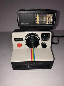 VTG Polaroid Rainbow Stripe One Step Land Camera w Keystone EverFlash 90 And Bag