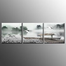 FRAMED CANVAS PRINTS photo Art crane Paintings on Canvas For Home Decor-3pcs