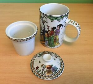 3 PIECE TEA INFUSER CERAMIC MUG Chinese traditional beautiful ladies teacup