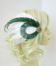 White Gold Green Peacock Feather Fascinator Hair Clip 1920s Cocktail Vtg 0692