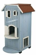 Outdoor Cat House Condo Home Tower Shelter Indoor Bed Flap Door Pet Kitty Feral