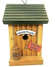 Wood Cabin Welcome Friends Fishing Birdhouse