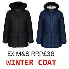EX M+S Girls Winter Coat Jacket Hooded School Fleece Warm Quilted Kids NEW 3-16Y