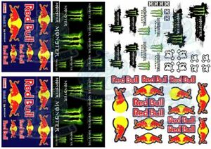 RedBull vs Monster | Waterslide Decals for all scale Models from 1:64 up to 1:18