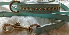 TINTY DOGS REAL LEATHER DOG COLLAR AND LEAD SET LIGHT BLUE 35 CM COLLAR x small