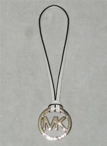 NEW Michael Kors Leather strap MK Bag CHARM Hang Tag Gold-Tone White