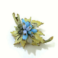 Florenza Brooch Pin Enamel and Bead Blue Signed Vintage 1960s