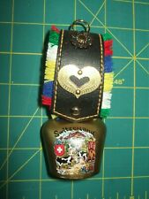 Vintage SWITZERLAND Souvenir Cow Bell Hand Crafted with Strap heart metal