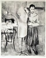 RAPHAEL SOYER Original HAND SIGNED Pencil LITHOGRAPH Seamstress LIMITED EDITION