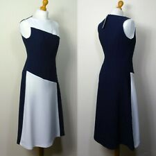 M&S Colour Block A-LINE Sleeveless Midi SKATER DRESS ~ Size 12 ~ NAVY Mix