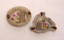 2 Italian Pottery Ashtrays Trinket Pin Dishes Souvenir Pisa Tower Made In Italy
