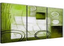 3 PANNELLO Lime Verde dipinto salotto arredamento in Tela-ASTRATTO 3431 - 126cm