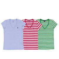 New WOMEN'S POLO RALPH LAUREN SHORT SLEEVE  V NECK TEE SHIRT Size S Green Pink