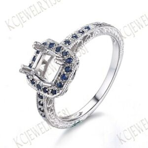 Sapphires Solid 18K White Gold 5x5mm Cushion Semi Mount Antique Filigree Ring