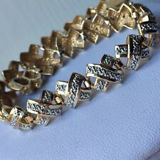Vintage 925 Sterling Silver Gold Plate Diamond Tennis Bracelet 15g 6mm 71/2 Inch