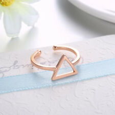 Pyramid Geometrical Open Triangle Ring in Solid 14k Rose Gold Midi Knuckle Band