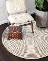 Rug Round Reversible Jute& Cotton 60x60 Cm Rug Bohemian Area Dhurrie Boho Mats