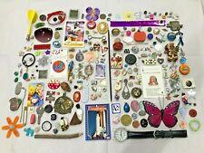 225 pcs VINTAGE LOT Jewelry Trinkets Charms Craft Rhinestone UNTESTED LOCKET