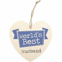 Worlds Best Husband Wall Sign Valentines Love Heart Plaque Anniversary Romantic