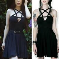 Women Gothic Pentagram Strappy Skater Evening Party Backless Mini Dress Sundress