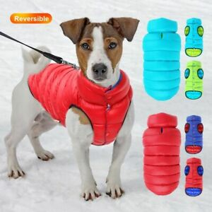 Winter Dog Coat Clothes Reversible Windproof Clothing Jackets Warm Dogs Pet
