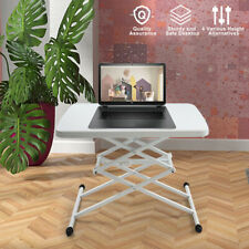 25x17 in Square Plastic Folding Card Table Lifting Desk Height Adjustable White