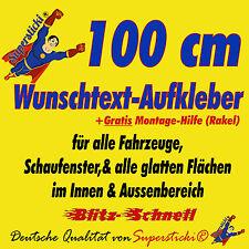 """Wunschtext Aufkleber""""100 cm""""inkl.Rakel für Schaufenster,Öffnungszeiten"""