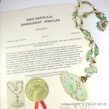 Natural Apple-Green Splash Mutton Fat Jadeite Jade Bead & Carved Necklace