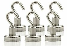 Strongman Magnets Powerful 25Lb Neodymium Heavy Duty Magnetic Hooks! 5 Pack +3M