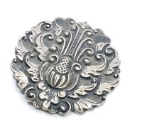 Fine Antique Art Nouveau Sterling Silver Brooch pin Ornate Wings