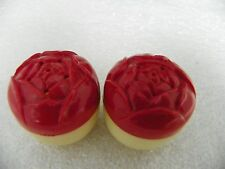 Vintage Small Plastic Salt & Pepper Yellow w/ Red Floral Top