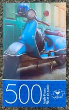 BLUE VESPA VINTAGE SCOOTER JIGSAW PUZZLE, 500 PIECES, CARDINAL, NEW