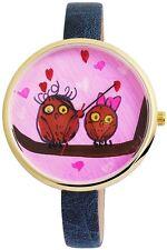 Damenuhr Blau Pink Gold Eule Uhu Analog Metall Leder Armbanduhr D-60463615258500