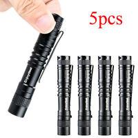 5PCS XPE 1000 Lumens LED Flashlight Lamp Clip Mini Light Penlight Torch AAA