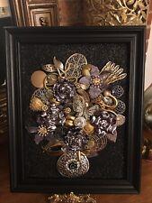 vintage jewelry art, Christmas tree's, Angels, Flower vases, etc. framed
