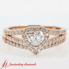 1 Carat Heart Shaped Diamond Halo Split Shank Wedding Ring Set In 14K Rose Gold