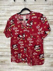 Disney Scrub Top Size Medium Minnie Mickey Mouse Hearts Love Kiss XOXO ❤️💕