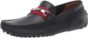Mens Lacoste Ansted 319 1 U CMA Loafers - Black/Red Leather [7-38CMA00841B5]